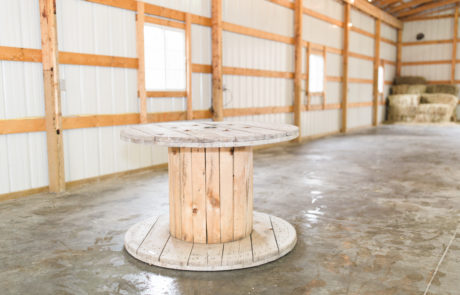 Use our Rustic Spool Tables